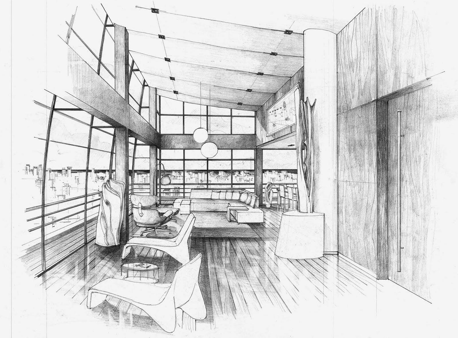 Croquis perspectivas interiores - Paginas de arquitectura y diseno ...