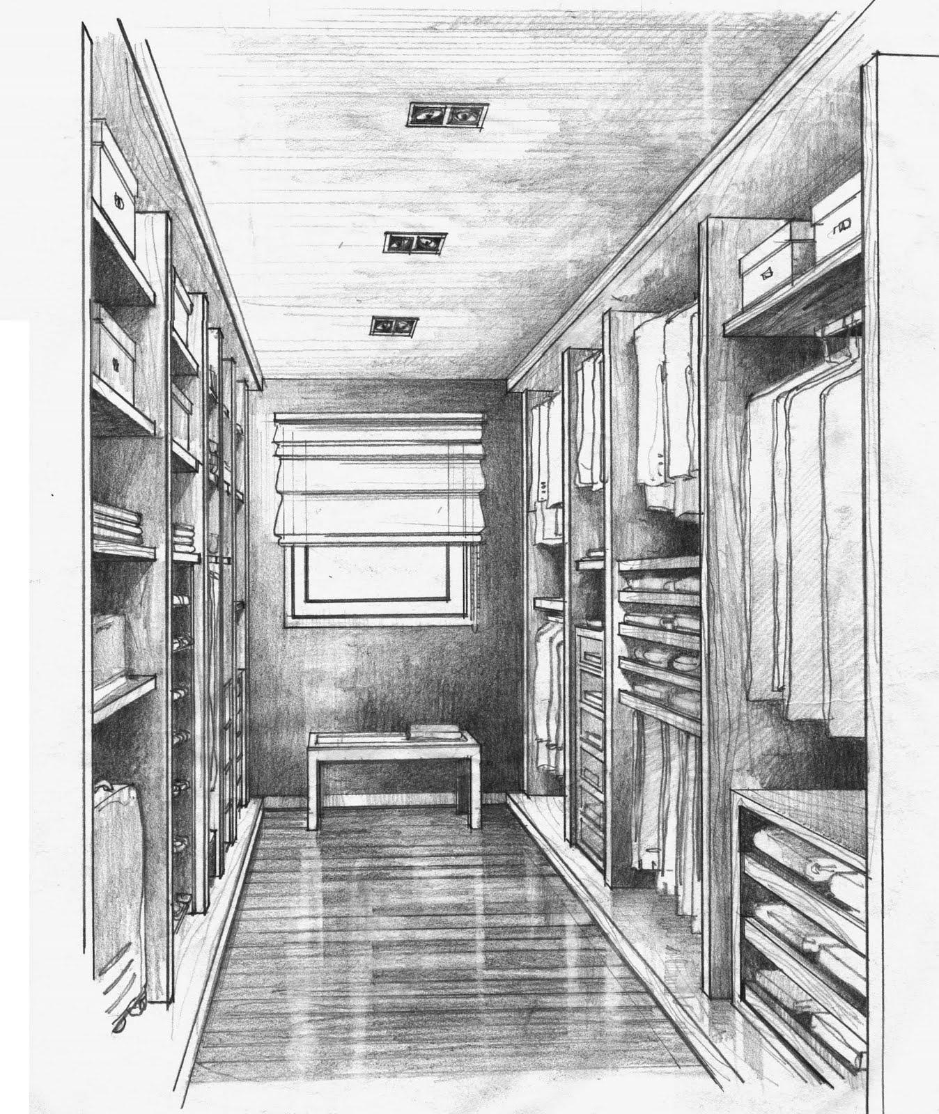 Croquis perspectivas interiores for Arquitectura interior
