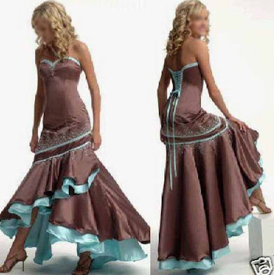prom wedding dress Brown lace up prom wedding dresses