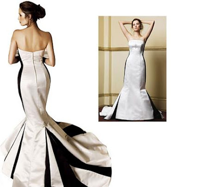 Black and White Mermaid Wedding Dress