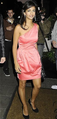 Konnie Huq short pink silk dress