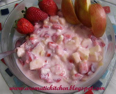 Strawberry , Apple, Banana fruit salad