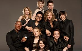 The Top 10 American Idols from Season 9 in a American Idols Live Tour Promo Shoot