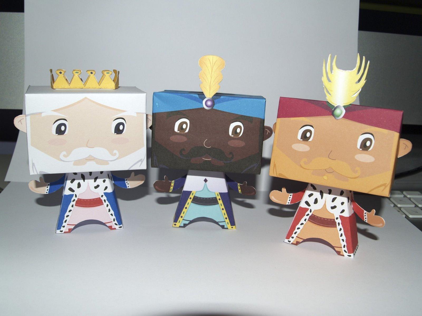 Papercraft de los Tres Reyes Magos.