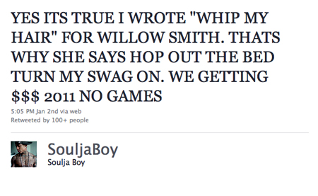 "Souljah Boy Wrote Willow Smith's ""Whip My Hair""???"