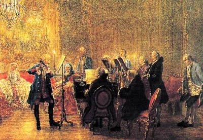 Federico II de Prusia toca la flauta, con Carl Philip Emanuel bach en el clave y Christian Benda en el violín