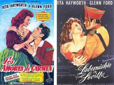 Dos carteles anunciadores de Los amores de Carmen