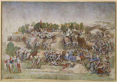La batalla de Marignano (atribuido al Maître de la Ratière, c.1515)