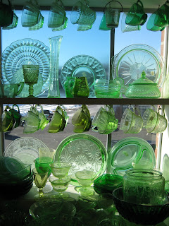 Green Depression Glass in the Window