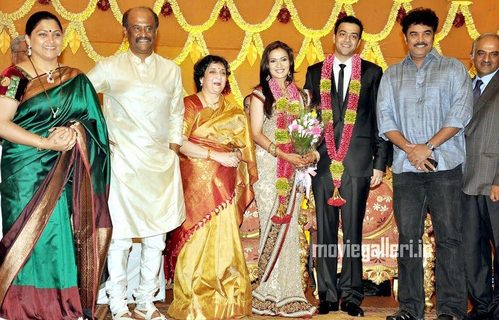 tamil stars soundarya rajinikanth wedding reception stills photos