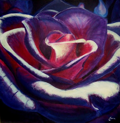 Blue Rose (For Brad) - Acrylic and gel medium on canvas, 3 x 3