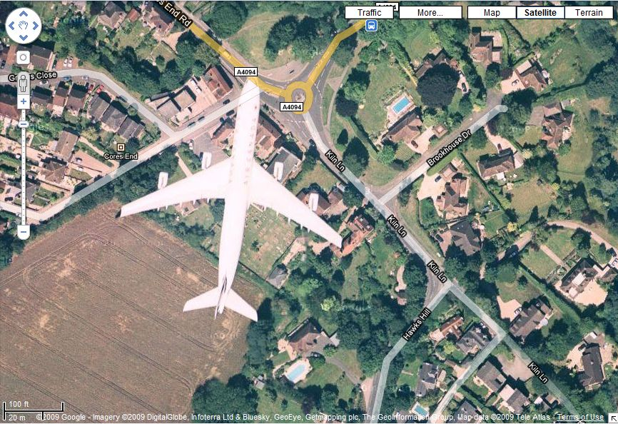 Found An Airplane On Google Maps Satellite View In Bourne End - Google map satellite