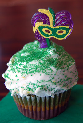 Mardi Gras Striped Cupcake