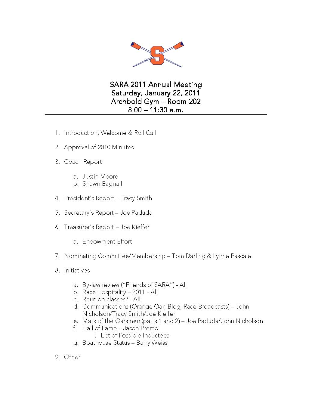 Sports Team Meeting Agenda 2011 sara annual meeting