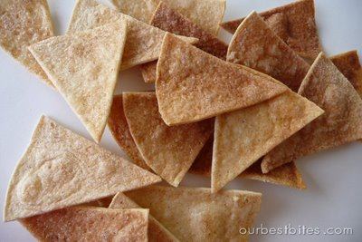 Chips de canela, ultrafaciles, con tortillas mexicanas