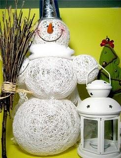 Muñeco de nieve con piola o hilo para Navidad