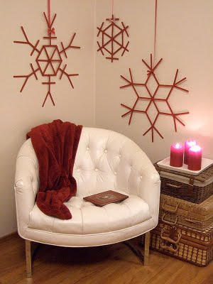 Copos de nieve colgantes para pared con palitos de helado