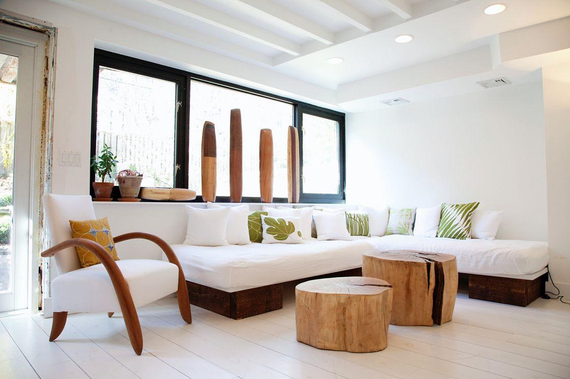 Decora ahorrando: troncos como mesas o asientos