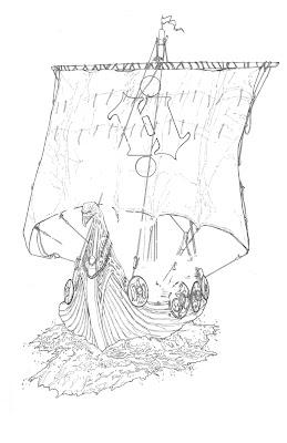 Delton Demarest Arts: Final Line Drawing for Viking Longship