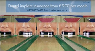 The Brain Which Created This Advertise Of Dental Insurance Must Be Sooooo Creative He Made A Superb Use Bowling Alley To Make Ad