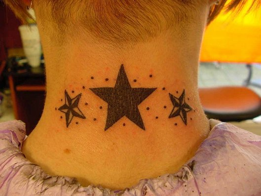 star neck tattoo. beautiful star tattoos on