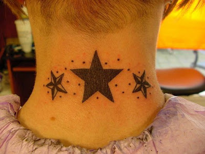 beautiful star tattoos on the neck