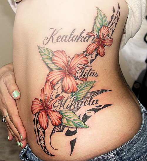 sexy hawaiian flower tattoo designs for women