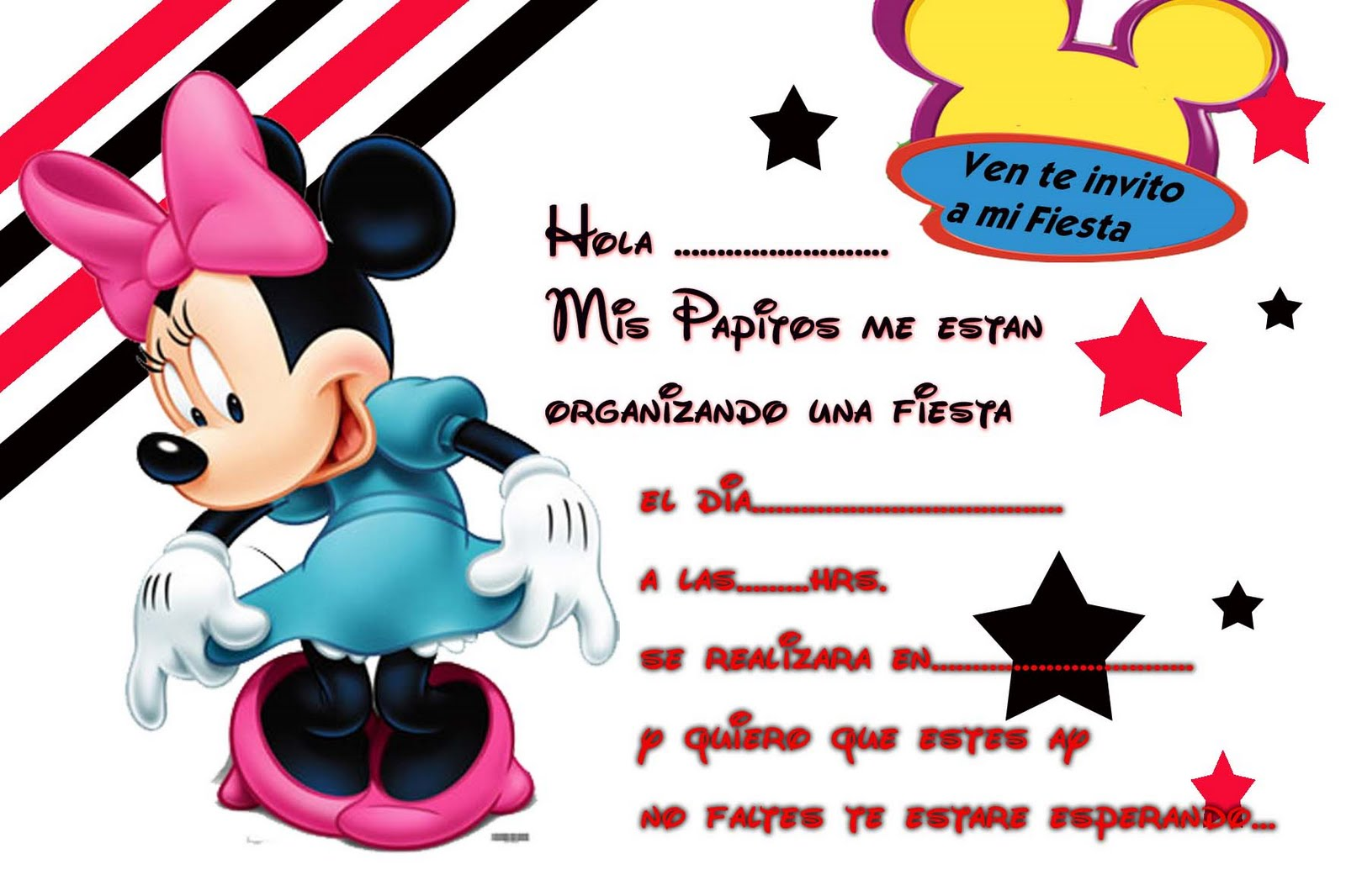 Tarjetas De Invitacion De Cumpleanos De Minnie Mouse Wallpapers | Real ...