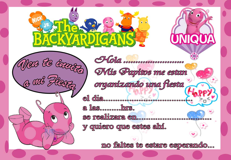 tarjeta de invitacion de uniqua backyardigans