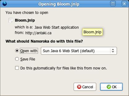 Perintah untuk membuka Bloom