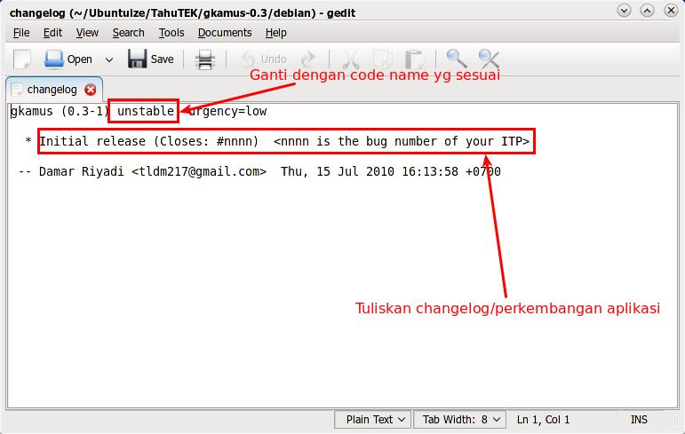 File changelog yang akan diedit