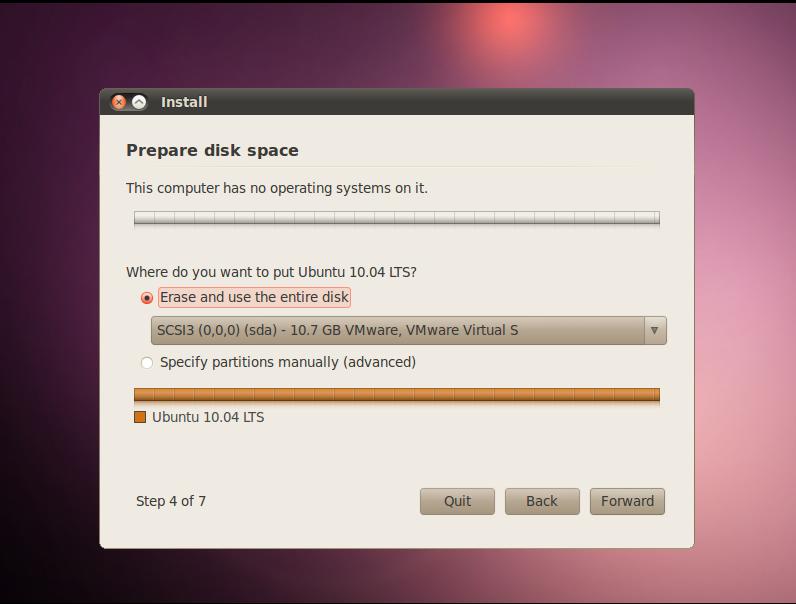 Pilihan untuk partisi di Ubuntu 10.04