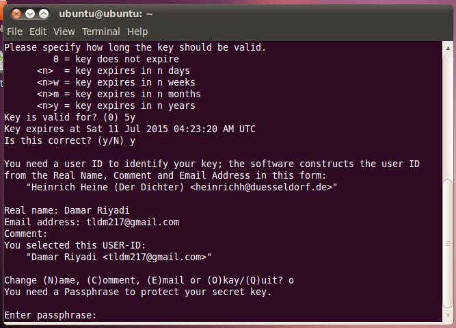 Masukkan password untuk GPG Key