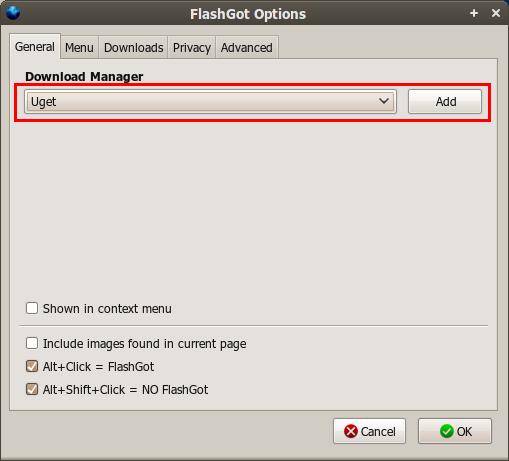 Jendela konfigurasi FlashGot