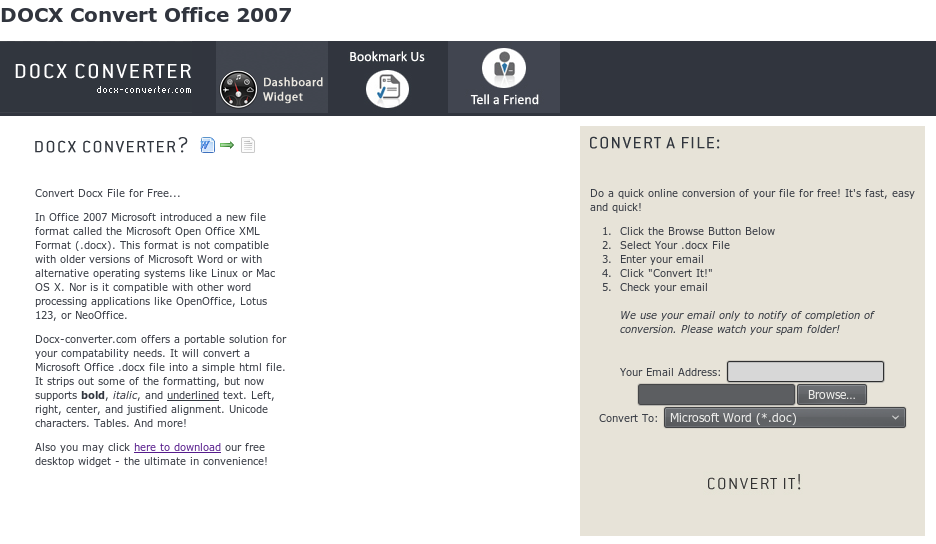 Homepage Docx-Converter
