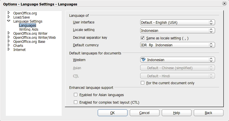 Atur setelan bahasa di OpenOffice.org