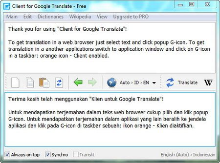 Client for Google Translate in action!