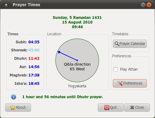 Minbar: Aplikasi pengingat waktu sholat di Ubuntu