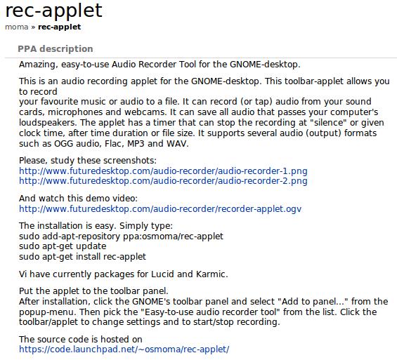 PPA resmi dari Rec-Applet telah dibuat