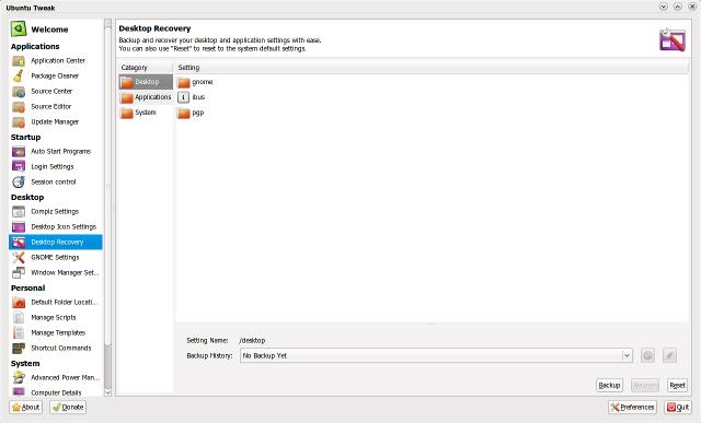 Ubuntu Tweak 0.5.6 dengan fitur Desktop Recovery