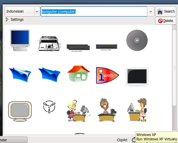 ClipArt Finder Applet in action