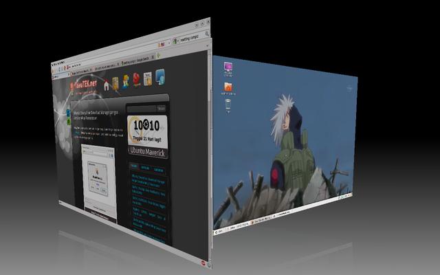 Desktop Cube: salah satu efek di Compiz