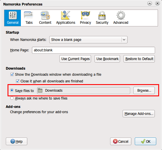 Mengatur letak file yang selesai di-download