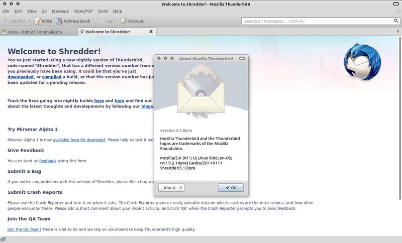 Thundebird 3.1 di Ubuntu 10.10 Maverick Meerkat