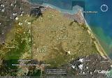Esta é uma foto de fortaleza com a imagem de Cingapura sobreposta sobre ela para se ter uma idéia do tamanho de Cingapura com a cidade