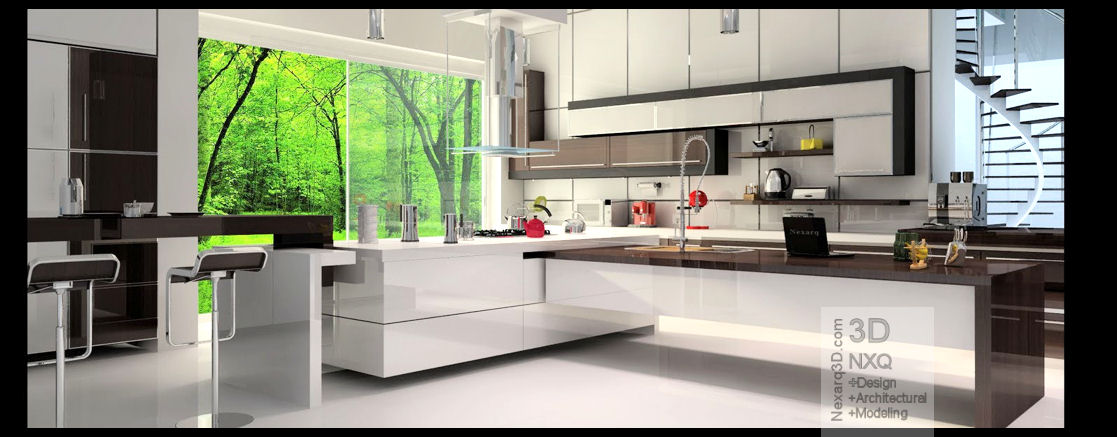 Renders arquitectura 3d animaci n y video nexarq 3d for Interiores de cocinas modernas