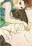 Mulher sentada com um Joelho Levantado - Egon Schiele    _minha versao_ Laura Franco