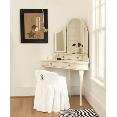 corner makeup vanity table via