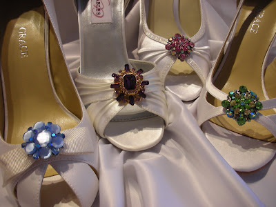 wedding dresses with colored shoes. Shoes from Left to Right