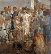 李石樵〈市場口〉1946